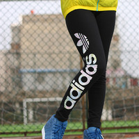 """Adidas"" Fashion Casual Simple Stretch Breathable Letter Print Yoga Leggings Long Sweatpants"