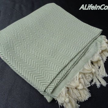 Silver green colour herringbone patterned Turkish soft cotton bath towel, spa towel, beach towel, travel towel, baby blanket, hammam towel.