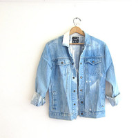 Vintage 80s jean coat / Destroyed denim jean jacket. Bleached denim button up coat