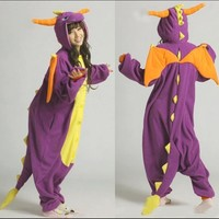 Fashion Adult Pajamas Cosplay Costume Japan Anime Purple Spyro Dragon Cute Flannel Animal Onesuit Pyjama