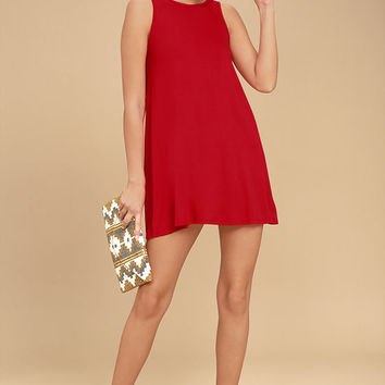 There She Goes Red Backless Swing Dress