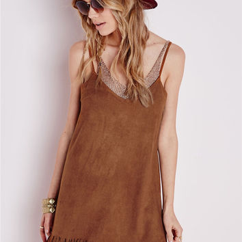 Loose Hem Tassel V-Neck Condole Belt Casual Dress