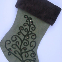 Elegant Christmas Stocking Swirly Tree on Sage
