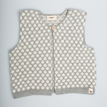 Polka dot vest / Baby alpaca wool girl vest / gray / white / jacquard pattern vest / children / girl / toddler / baby top