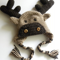PATTERN Moose or Reindeer Crochet Hat by brookeslittlestitch