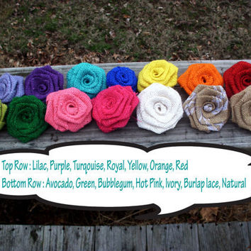 Burlap roses, one dozen handmade burlap roses, choose your color, diy wedding supplies, diy wedding