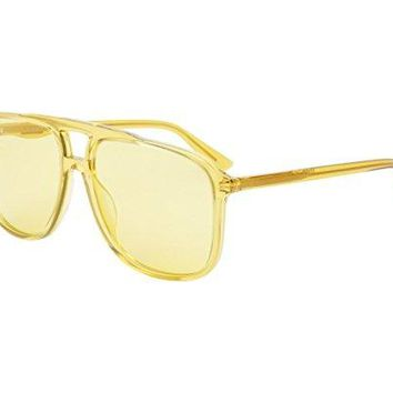 Gucci GG0262S 005 Yellow Plastic Aviator Sunglasses Yellow Lens