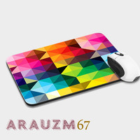 colors geometric palette, damask coral ,shadow geometric, coral and uniq design mousepads