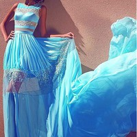 [138.99] Fantastic Silk-like Chiffon Jewel Neckline A-Line Prom Dresses With Lace Appliques - dressilyme.com