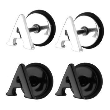 Charisma Stainless Steel Alphabet Letters Initial Stud Earrings Fake Cheaters...