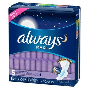 Always Maxi Extra Heavy Overnight Pads - 36ct