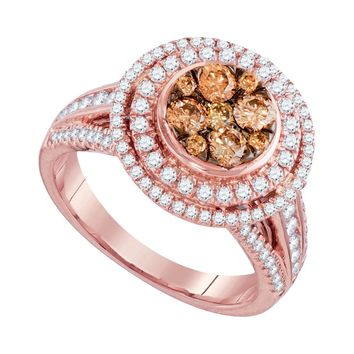 14kt Rose Gold Womens Round Brown Diamond Cluster Bridal Wedding Engagement Ring 1-1/2 Cttw