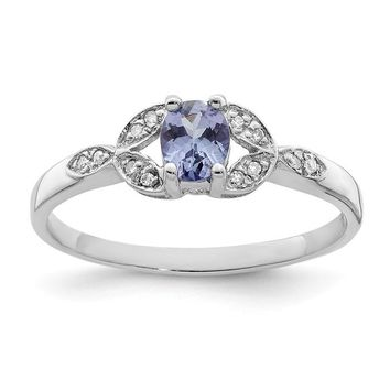Sterling Silver Oval 5x4mm Genuine Tanzanite And Diamond Ring