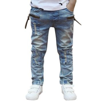 2018 New Solid Boys Jeans Kids Clothes Rushed Summer Light-colored Boys Fashion Jeans Children Trousers Spring Baby Boy Clothes