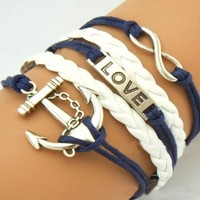 Antique Silver Karma Infinity Bracelet Love Nautical Anchor Blue Rope Knit Weave