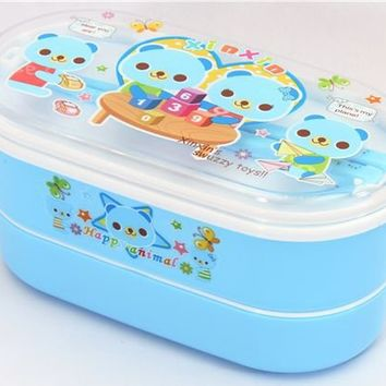 Blue Bento Box Bear Family kawaii lunch box - Bento Boxes - kawaii shop modeS4u