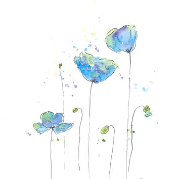 Original Watercolor Poppy Painting Blue no 2