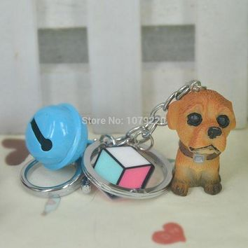 ac spbest Cube Piece Resin Dog Bells Keyring Jewelry Women Charm Key Bag Chain Christmas Mother's Day Lover Girl Gift