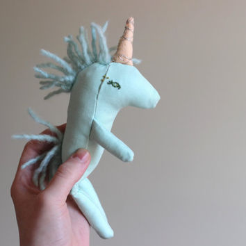"""Stuffed Unicorn Toy Handmade Baby Doll 8.25""""ish Embroidered Textile Toy Small Gift under 50 by Liberty Lavender Dolls"""