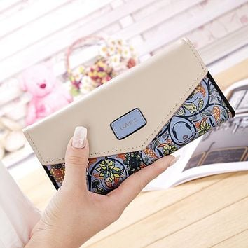 Dupplies Women Wallet Small Floral Printing PU Leather Hasp Female Long Wallets Ladies Clutch Cash Card Coin Purse