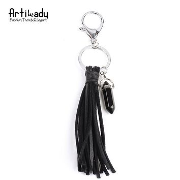 Artilady 4 colors balck stone pendant keyring black leather tassel keychain for women bag charms jewelry