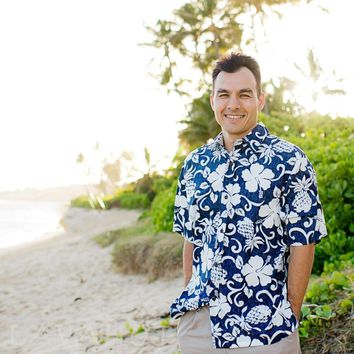 Royal Pineapple Navy Hawaiian Reverse Shirt