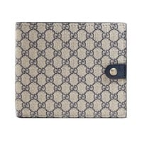 Gucci Supreme GG Canvas Leather Men's Bi-fold Wallet Navy Midnight Blue 365477
