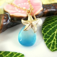 Sky blue chalcedony gold starfish necklace