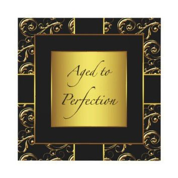Black Gold Womans Birthday Party Invitations from Zazzle.com