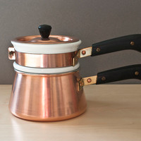Vintage Copper BIA Cordon Bleu French Double Boiler, Bain Marie, Ceramic Insert, Made in France