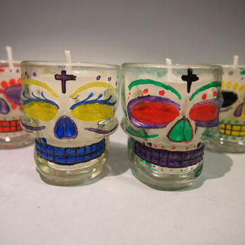 Hand painted shot glasses Skull mexican candles Vasos chupitos velas calavera