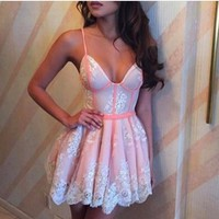 hot pink lace straps dress