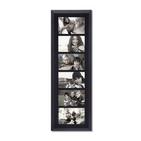 6-Opening Decorative Black Wood Wall Hanging Divided Photo Frames 4 by 6""