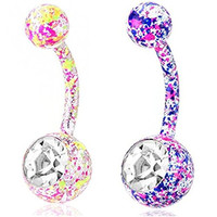 Sunshinesmile 2pcs Paint Splatter Stainless Steel Belly Button Ring Body Jewelry Piercing Ring