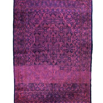 7x11 Overdyed Vintage Oriental Area Rug Hot Pink Purple Blue Rug 1365