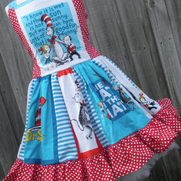 Ready to Ship Custom Boutique Cat in Hat Dr Seuss Girl  Dress 7 8