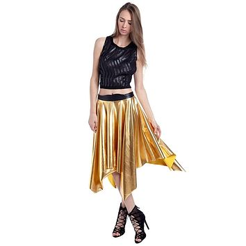 Metallic Golden Pleated Midi Skirt