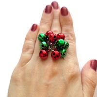 Red and Green Jingle Bell Ring, Adjustable Christmas Ring