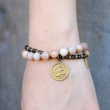 Joy and Positivity, Genuine Faceted Sunstone and Smoky Quartz 27 Bead Wrap Mala Bracelet