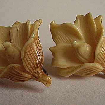 Mid Century Hand Carved Ming's Tinted Ivory & Sterling Woodrose Flower Earrings