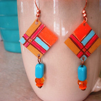 Rustic Argyle Plaid Shrink Plastic Earrings
