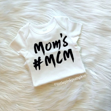 Baby Boy Clothes, Mother and Son, Mom's MCM Shirt, Mom's #MCM, Mom's Man Crush Monday Shirt, Hipster Clothes, Bodysuit ONLY