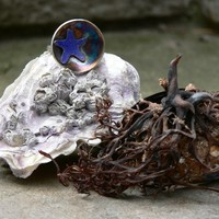 Tidal Pool ring, hand formed silver ring, starfish, patina, color, ocean jewelry, beach, one of a kind, unique, gift for her, sterling