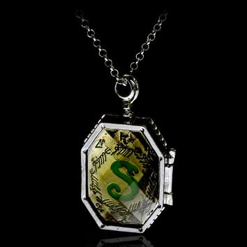 Fashion Jewelry Charm HP Horcrux Locket Glass Box Locket Necklace Double Side Letter Pendants Necklaces Chain Best Gift For Fans