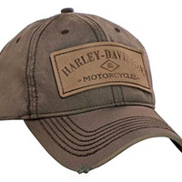 Harley-Davidson Men's H-D Patch Baseball Cap, Brown Stone Washed BC09439
