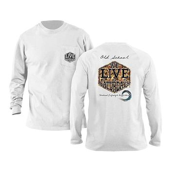 Old School Long Sleeve Tee in White by We Live For Saturdays