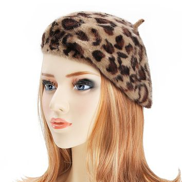 Womens Rabbit Fur French Beret Hat Leopard Print by ZLYC