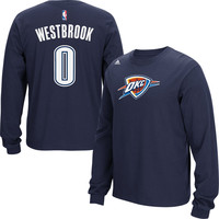 Mens Oklahoma City Thunder Russell Westbrook adidas Navy Blue Name & Number Long Sleeve T-Shirt
