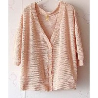 Women Autumn Plain Coloured Loose Bat-wing Sleeve Casual Pink Cardigan One Size@II0165p $9.81 only in eFexcity.com.