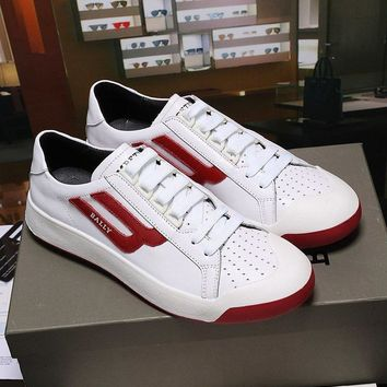 Bally The New Competition Men's Deer Leather Trainer In White Red Sneakers Shoes Sale
